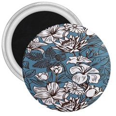 Star Flower Grey Blue Beauty Sexy 3  Magnets