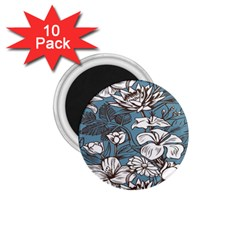 Star Flower Grey Blue Beauty Sexy 1 75  Magnets (10 Pack)