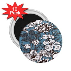 Star Flower Grey Blue Beauty Sexy 2 25  Magnets (10 Pack)