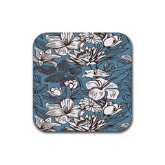 Star Flower Grey Blue Beauty Sexy Rubber Coaster (square)