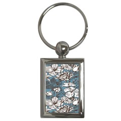 Star Flower Grey Blue Beauty Sexy Key Chains (rectangle)