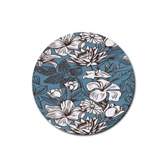 Star Flower Grey Blue Beauty Sexy Rubber Coaster (round)