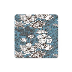 Star Flower Grey Blue Beauty Sexy Square Magnet