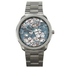 Star Flower Grey Blue Beauty Sexy Sport Metal Watch