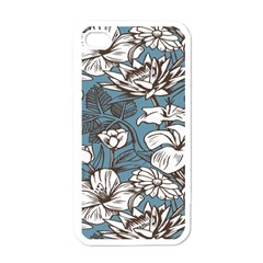 Star Flower Grey Blue Beauty Sexy Apple Iphone 4 Case (white)