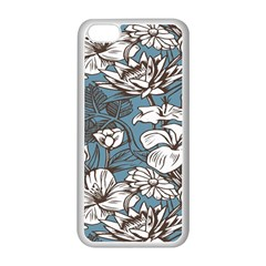 Star Flower Grey Blue Beauty Sexy Apple Iphone 5c Seamless Case (white)