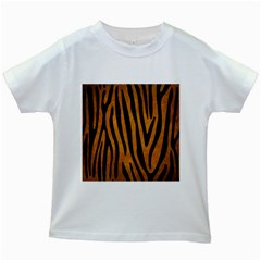 Skin4 Black Marble & Yellow Grunge (r) Kids White T Shirts