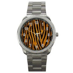 Skin4 Black Marble & Yellow Grunge (r) Sport Metal Watch