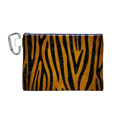 Skin4 Black Marble & Yellow Grunge (r) Canvas Cosmetic Bag (m)