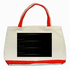 Stripes Black White Minimalist Line Classic Tote Bag (red)
