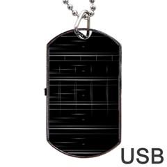 Stripes Black White Minimalist Line Dog Tag Usb Flash (two Sides)