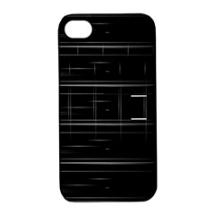 Stripes Black White Minimalist Line Apple Iphone 4/4s Hardshell Case With Stand