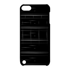Stripes Black White Minimalist Line Apple Ipod Touch 5 Hardshell Case With Stand