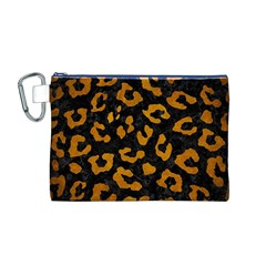 Skin5 Black Marble & Yellow Grunge Canvas Cosmetic Bag (m)