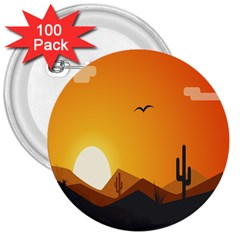 Sunset Natural Sky 3  Buttons (100 Pack)