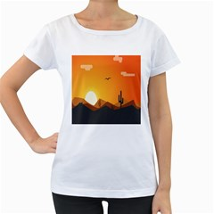 Sunset Natural Sky Women s Loose Fit T Shirt (white)