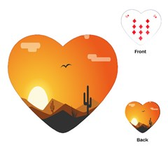 Sunset Natural Sky Playing Cards (heart)