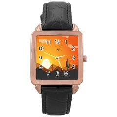 Sunset Natural Sky Rose Gold Leather Watch