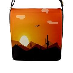 Sunset Natural Sky Flap Messenger Bag (l)