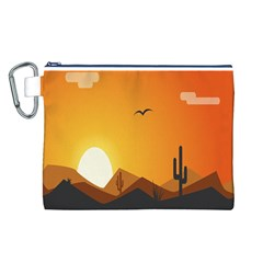 Sunset Natural Sky Canvas Cosmetic Bag (l)
