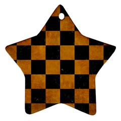 Square1 Black Marble & Yellow Grunge Ornament (star)