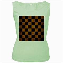 Square1 Black Marble & Yellow Grunge Women s Green Tank Top