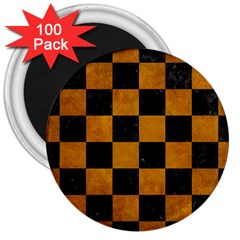 Square1 Black Marble & Yellow Grunge 3  Magnets (100 Pack)