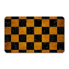 Square1 Black Marble & Yellow Grunge Magnet (rectangular)