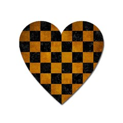 Square1 Black Marble & Yellow Grunge Heart Magnet