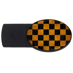 Square1 Black Marble & Yellow Grunge Usb Flash Drive Oval (2 Gb)