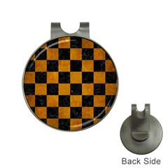 Square1 Black Marble & Yellow Grunge Hat Clips With Golf Markers