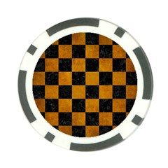 Square1 Black Marble & Yellow Grunge Poker Chip Card Guard