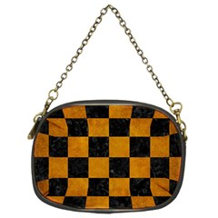 Square1 Black Marble & Yellow Grunge Chain Purses (two Sides)