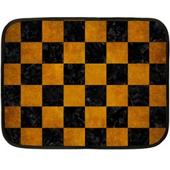 Square1 Black Marble & Yellow Grunge Double Sided Fleece Blanket (mini)