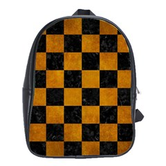 Square1 Black Marble & Yellow Grunge School Bag (large)
