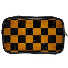 Square1 Black Marble & Yellow Grunge Toiletries Bags 2 Side
