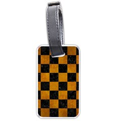 Square1 Black Marble & Yellow Grunge Luggage Tags (one Side)
