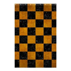 Square1 Black Marble & Yellow Grunge Shower Curtain 48  X 72  (small)