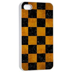 Square1 Black Marble & Yellow Grunge Apple Iphone 4/4s Seamless Case (white)