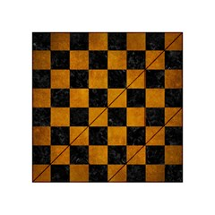 Square1 Black Marble & Yellow Grunge Acrylic Tangram Puzzle (4  X 4 )
