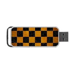 Square1 Black Marble & Yellow Grunge Portable Usb Flash (two Sides)