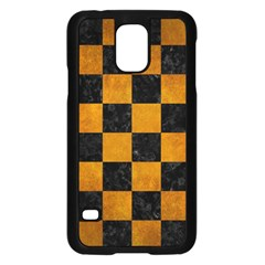 Square1 Black Marble & Yellow Grunge Samsung Galaxy S5 Case (black)