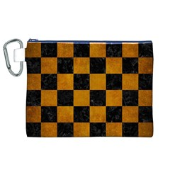 Square1 Black Marble & Yellow Grunge Canvas Cosmetic Bag (xl)