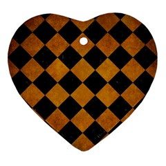 Square2 Black Marble & Yellow Grunge Ornament (heart)