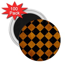 Square2 Black Marble & Yellow Grunge 2 25  Magnets (100 Pack)