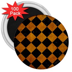 Square2 Black Marble & Yellow Grunge 3  Magnets (100 Pack)