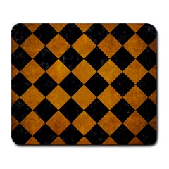 Square2 Black Marble & Yellow Grunge Large Mousepads