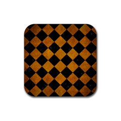 Square2 Black Marble & Yellow Grunge Rubber Coaster (square)