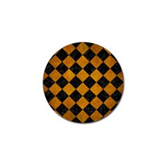 Square2 Black Marble & Yellow Grunge Golf Ball Marker