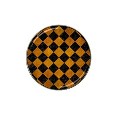 Square2 Black Marble & Yellow Grunge Hat Clip Ball Marker